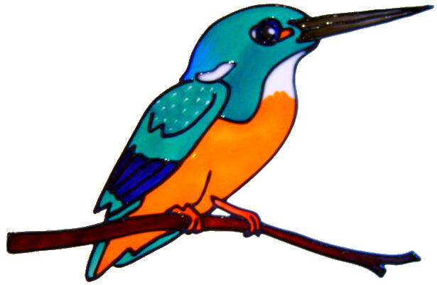 674 - Kingfisher - Handmade peelable static window cling decoration