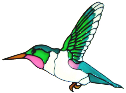 641 - Large Hummingbird - Handmade peelable static window cling decoration
