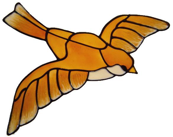 576 - Bird in Full Flight - Handmade peelable static window cling decoratio