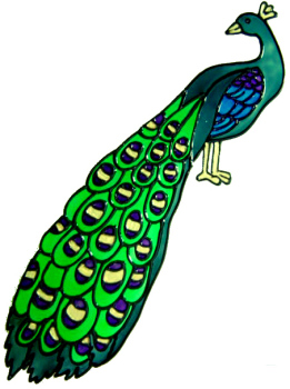 348 - Peacock handmade peelable window cling decoration