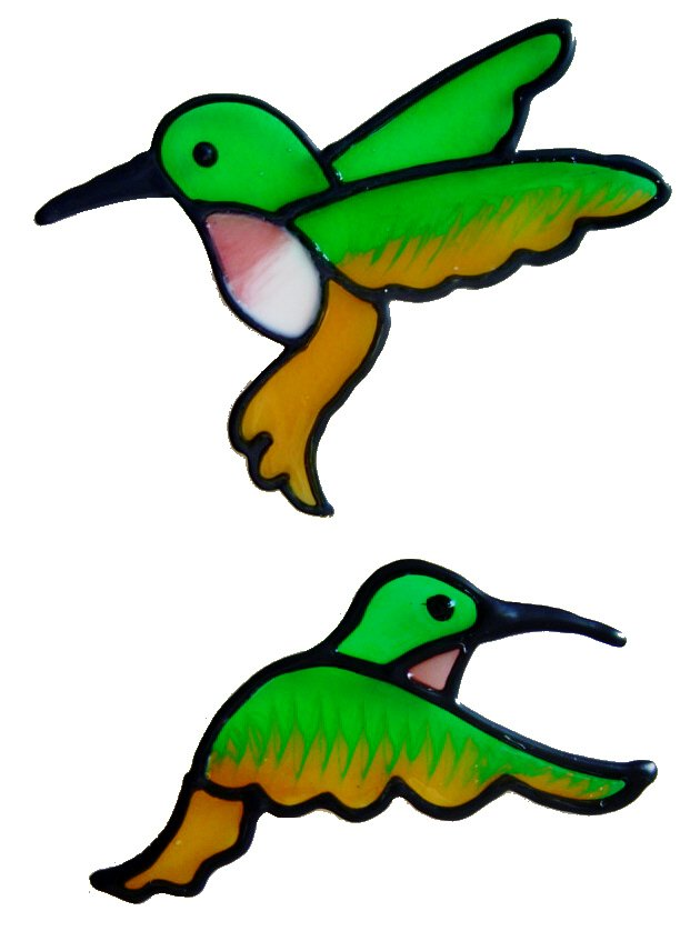 73 - Humming Birds - Handmade peelable static window cling decoration