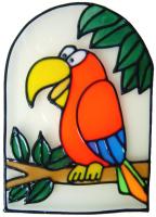 466 - Bird in Frame - Handmade peelable static window cling decoration