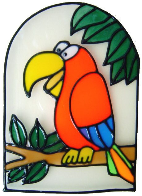 466 - Bird in Frame - Handmade peelable static window cling decoration