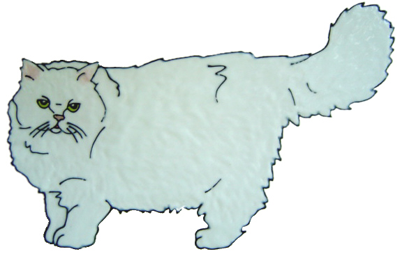 991 - Persian Cat Handmade peelable stained glass cling
