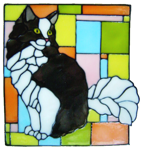 879 - Maine Coon Cat Frame handmade peelable window cling decoration