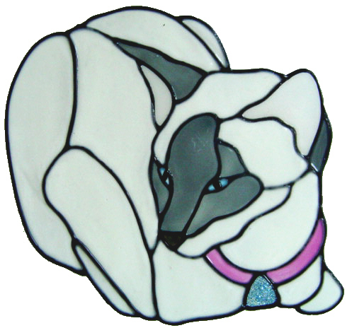 892 - Small Siamese Cat handmade peelable window cling decoration