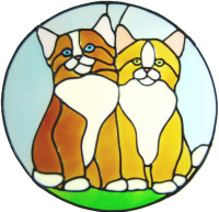 615 - Kittens - Handmade peelable static window cling decoration