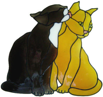560 - Kissing Kittens - Handmade peelable static window cling decoration