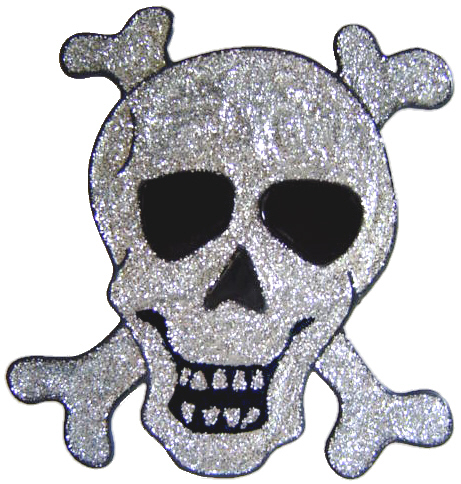 947 - Glitter Skull & Crossbones handmade peelable window cling decoration