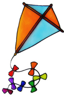 860 - Kite handmade peelable window cling decoration