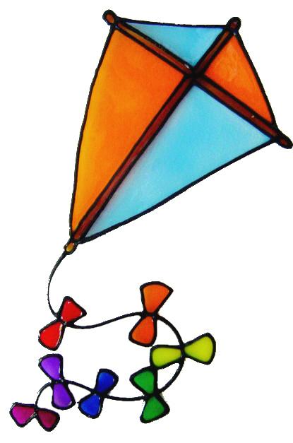860 - Kite handmade peelable window cling decoration