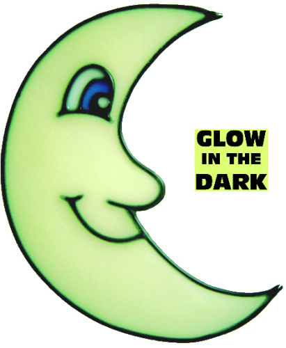 871 - Glow in the Dark Moon handmade peelable window cling decoration