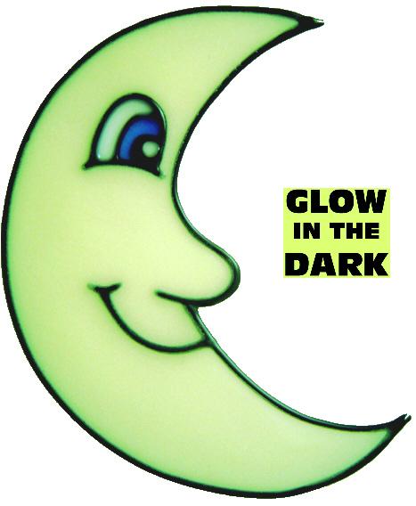 871 - Glow in the Dark Moon handmade peelable window cling decoration