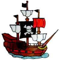 831 - Pirate Ship handmade peelable window cling decoration