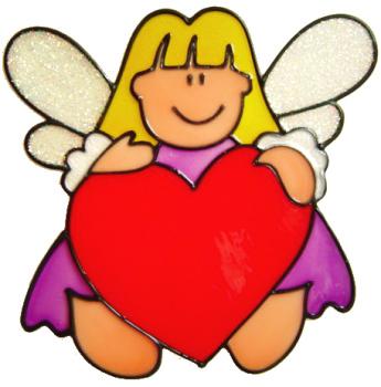 745 - Fairy Love - Handmade peelable window cling decoration
