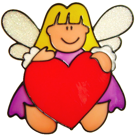 745 - Fairy Love - Handmade peelable window cling decoration