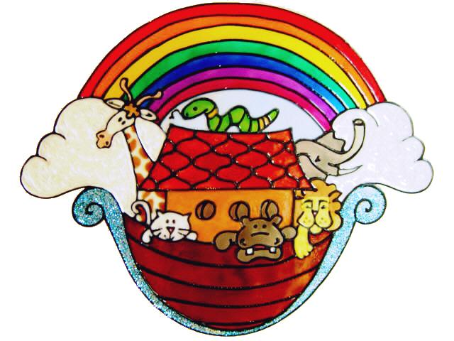 739 - Noah's Ark - Handmade peelable static window cling decoration