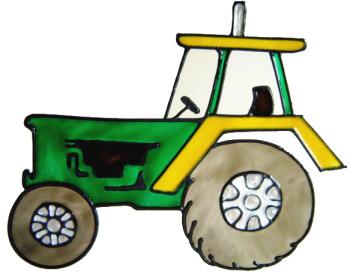 698 - Tractor - Handmade peelable static window cling decoration