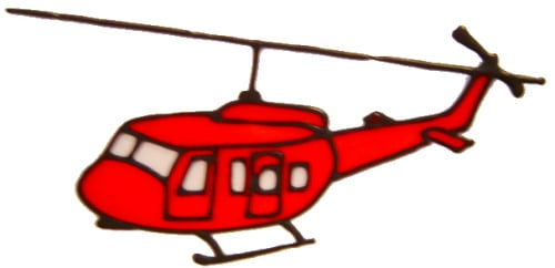 590 - Helicopter - Handmade peelable static window cling decoration