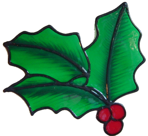 17 - Holly handmade peelable window cling decoration