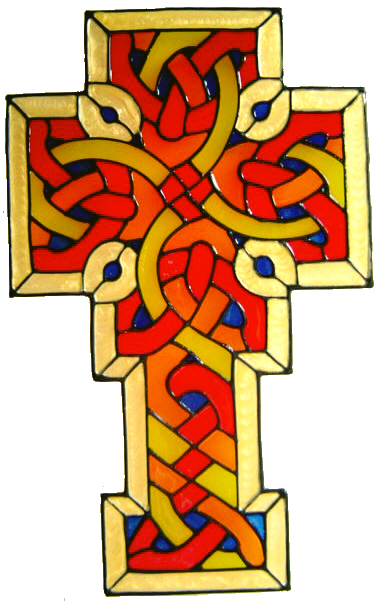827 - Celtic Cross handmade peelable window cling decoration