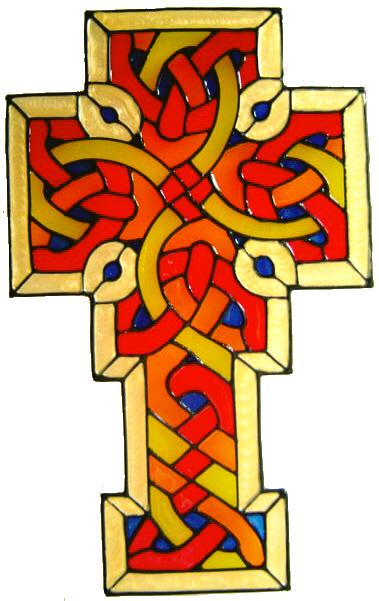 827 - Celtic Cross handmade peelable window cling decoration