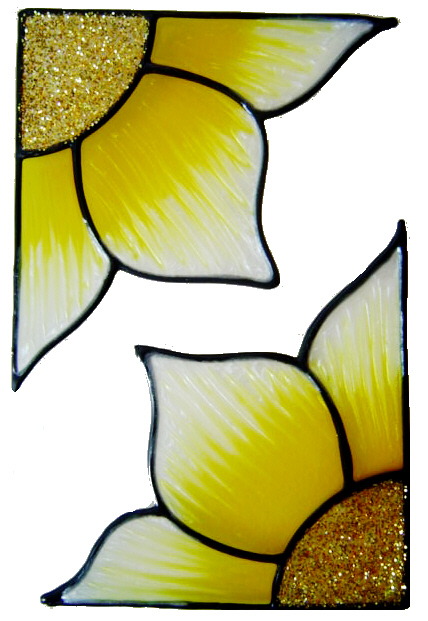397 - Flower Corners handmade peelable window cling decoration