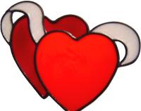 599 - Double Hearts - Handmade peelable static window cling decoration
