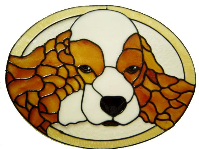 673 - Cocker Spaniel Frame - Handmade peelable static window cling decorati
