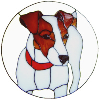 592 - Jack Russell Dog in Frame - Handmade peelable static window cling decoration