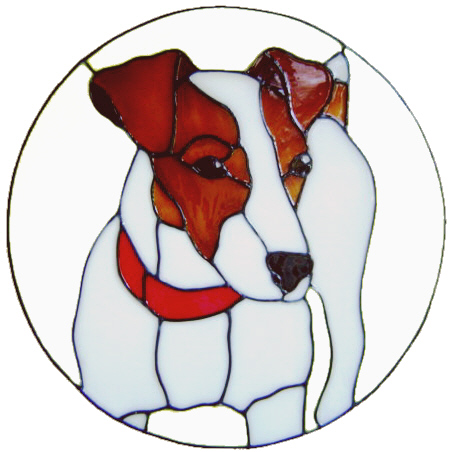 592 - Jack Russell Dog in Frame - Handmade peelable static window cling dec