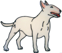 601 - Bull Terrier Dog - Handmade peelable static window cling decoration