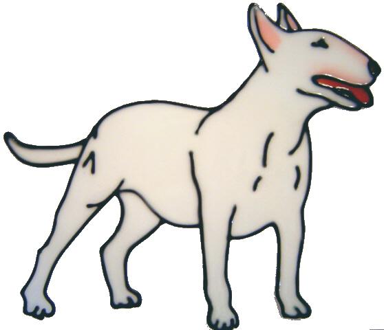601 - Bull Terrier Dog - Handmade peelable static window cling decoration