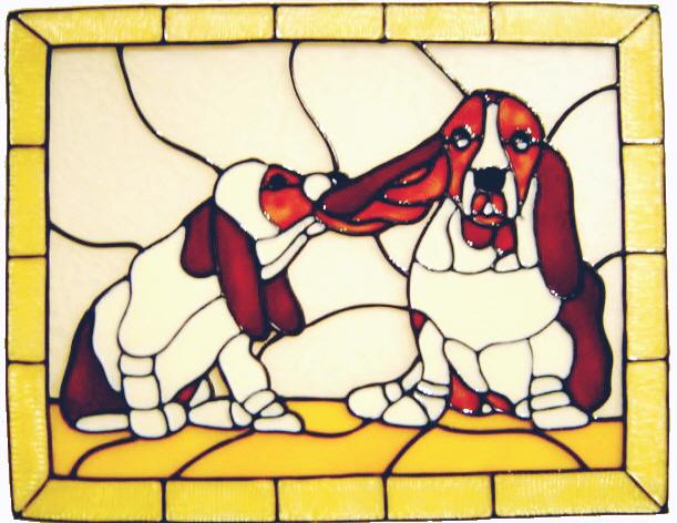 591 - Playful Bassett Hounds - Handmade peelable static window cling decora