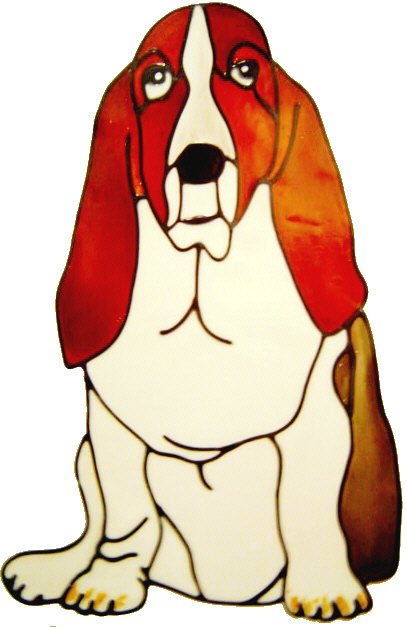 564 - Bassett Hound Dog - Handmade peelable static window cling decoration