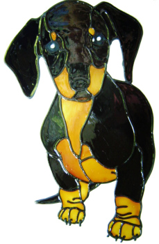 469 - Daschund Dog - Handmade peelable static window cling decoration