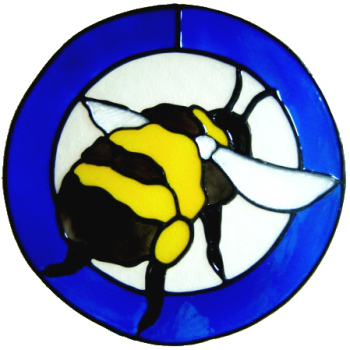 644 - Bumblebee in Frame - Handmade peelable static window cling decoration