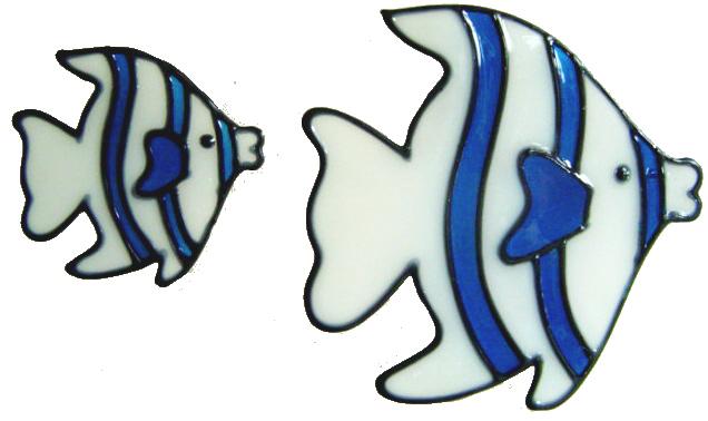 551 - Set of 2 Fish - Handmade peelable static window cling decoration