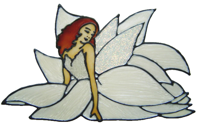 629 - Flower Fairy - Handmade peelable static window cling decoration