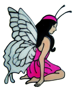 639 - Kneeling Fairy - Handmade peelable static window cling decoration