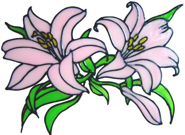 796 - Lily Swag - Handmade peelable window cling decoration