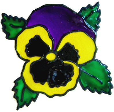 797 - Single Pansy - Handmade peelable window cling decoration