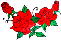 758 - Extra Large Rose Swag - Handmade peelable window cling decoration