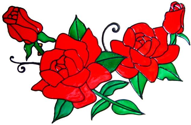758 - Extra Large Rose Swag - Handmade peelable window cling decoration