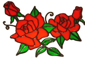 566 - Rose Swag - Handmade peelable static window cling decoration