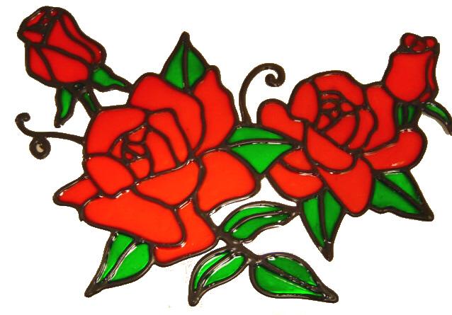 566 - Rose Swag - Handmade peelable static window cling decoration