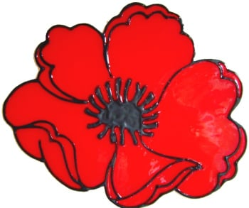 540 - Poppy (with donation to Poppy Appeal) - Handmade peelable static window cling decoration