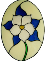 392 - Columbine Oval handmade peelable floral window cling decoration