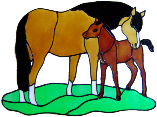 875 - Horse and Foal handmade peelable window cling decoration