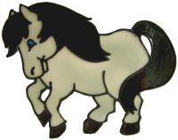 665 - Playful Pony - Handmade peelable static window cling decoration